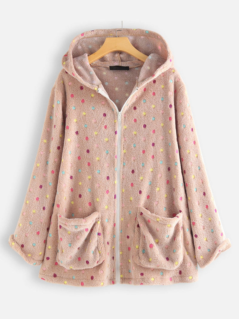 Plus Size Multicolor Dot Print Hooded Long-Sleeved Pocket Zipped Fluffy Coat