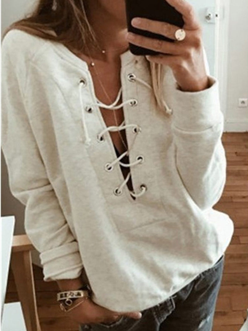 Crisscrossed Lace-Up V Neck Long-Sleeved Solid Loose Sweatshirt