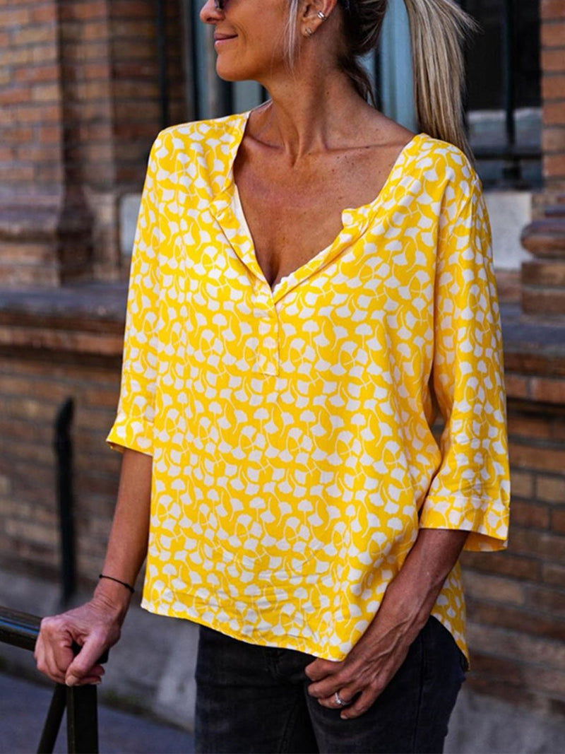 Summer Yellow Floral Print Loose Half Sleeve Blouse