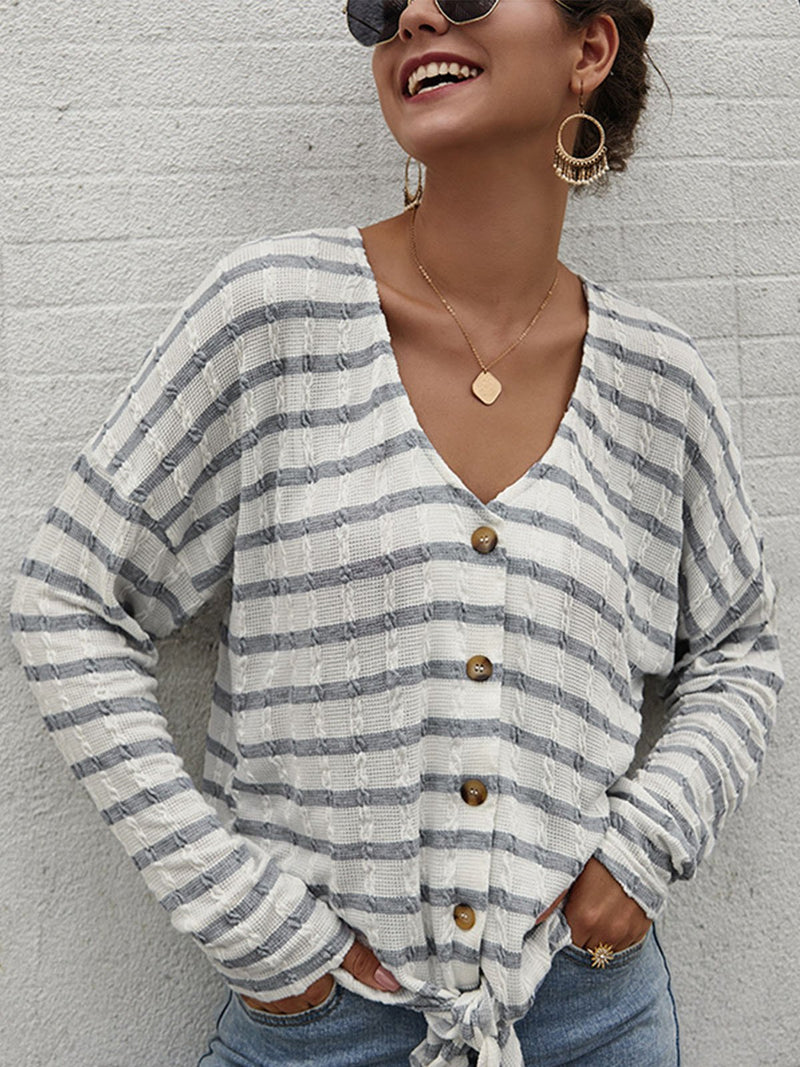 Stripe Print Buttoned V Neck Batwing-Sleeve Long-Sleeve Knit Blouse