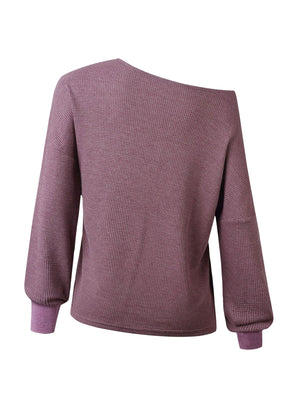 Autumn/Winter V Neck Bloomer Long-Sleeved Women Knit Solid Blouse