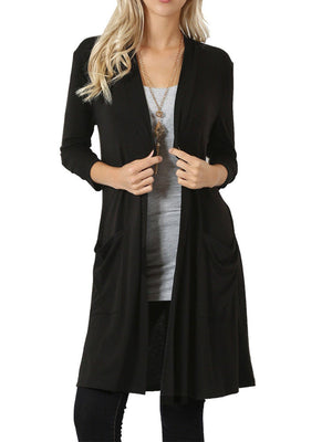 Plus Size Solid Long-Sleeved Pocket Long Knit Cardigan