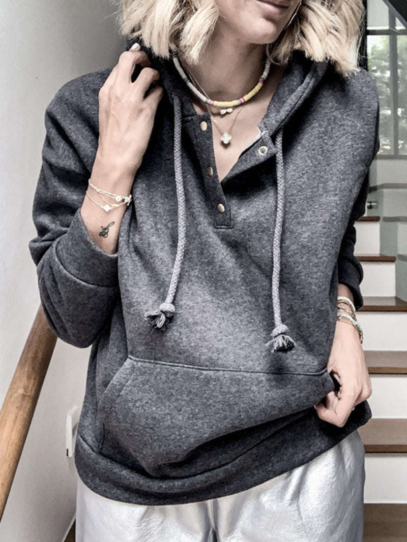 Black Solid Loose Pocket Casual Hoodies Sweatshirt
