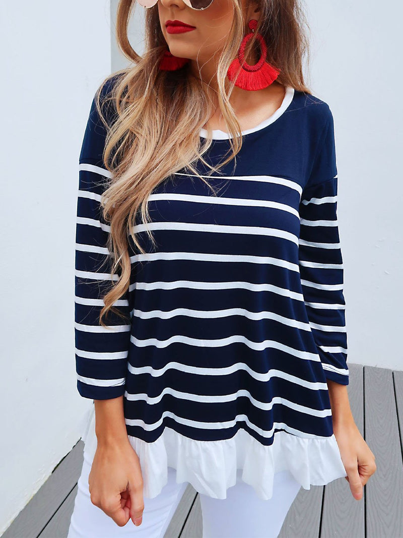 Stripe Print Splice Hem Long-Sleeve T-Shirt