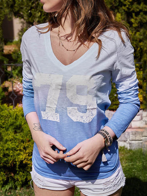 Skyblue Number Print Gradient V Neck Long-Sleeved T-Shirt