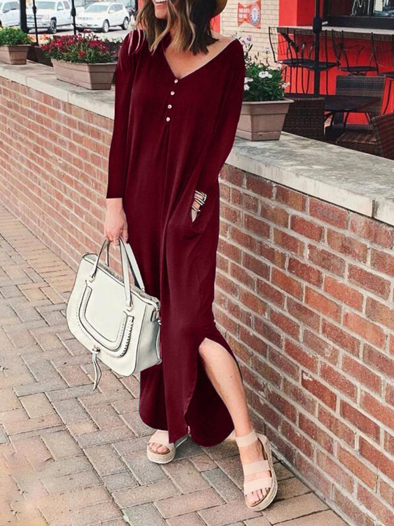 Solid V Neck Buttoned Long-Sleeved Slit Hem Pocket Dress