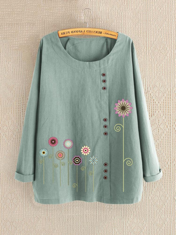 Plus Size Flower Print Button Decoration Long-Sleeved Loose Blouse