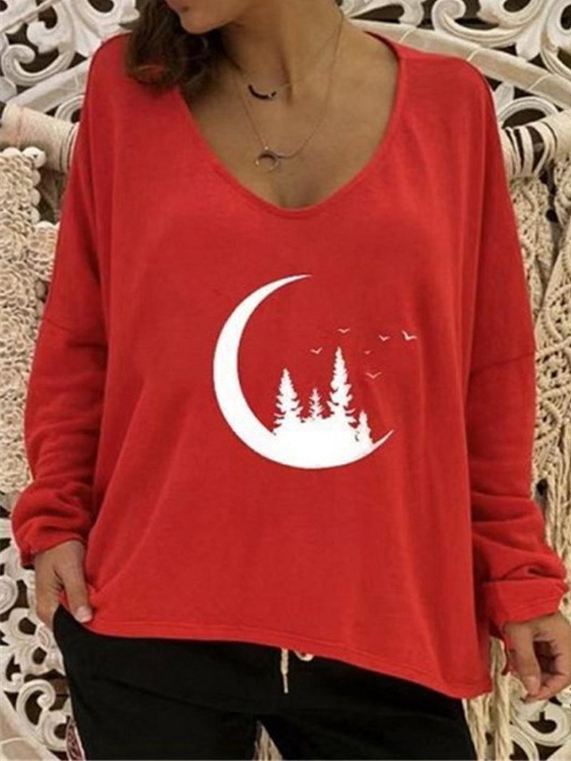 Plus Size Moon Print V Neck Casual T-Shirt