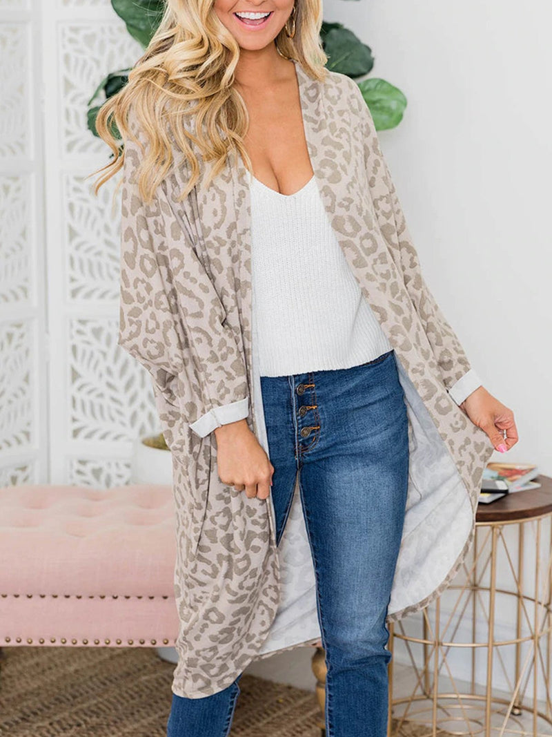 Leopard Print Long Holiday Casual Cardigan