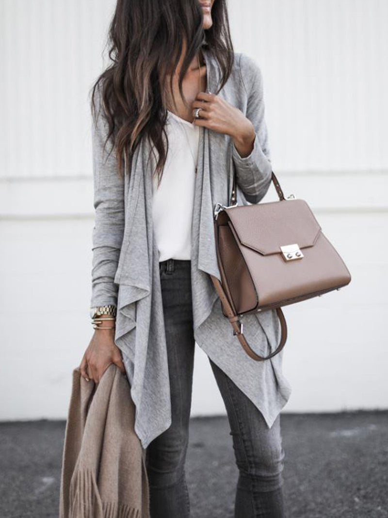 Solid Turndown Collar Asymmetric Long Cardigan Coat