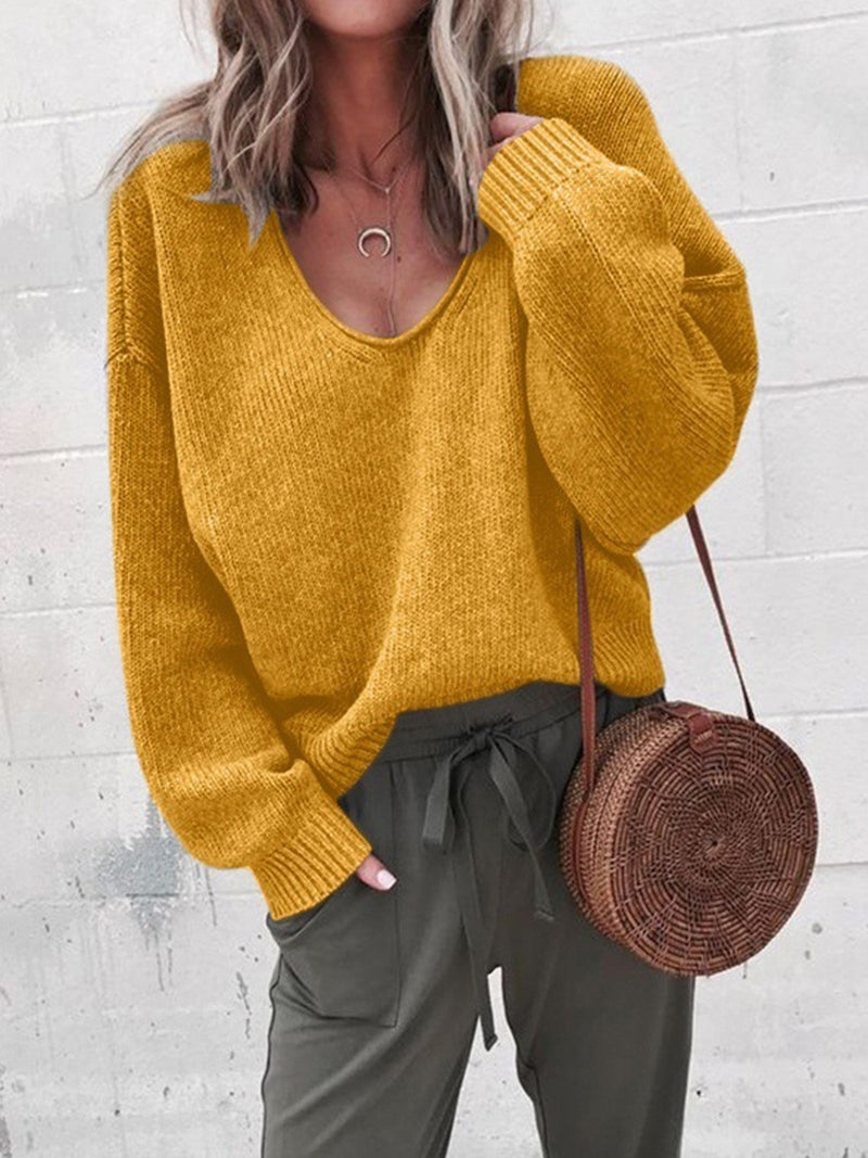 Ginger Solid V Neck Loose Casual Sweater