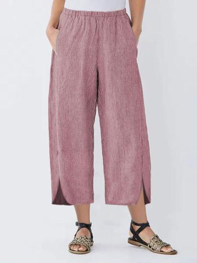 Plus Size Solid Shift Slit Hem Pants