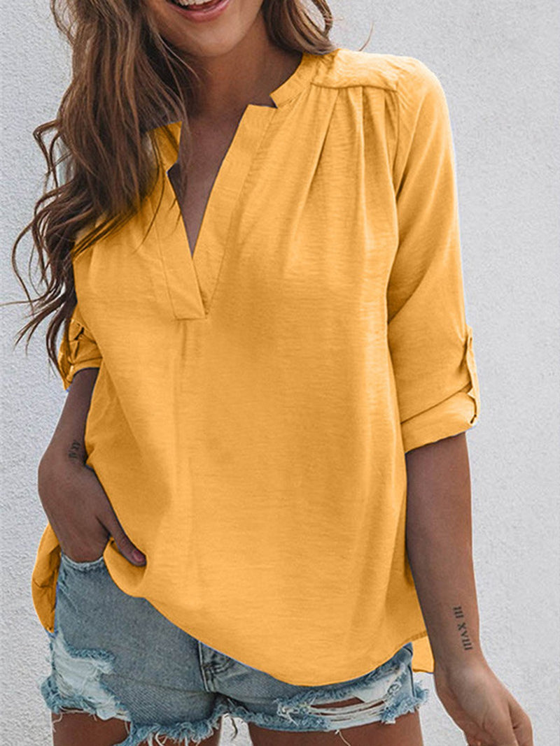 Solid V Neck Surplice Back Stand Collar Shirt