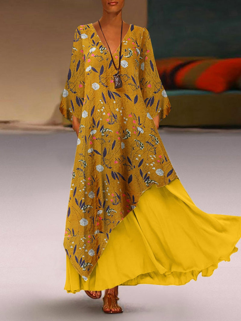 Plus Size Floral Print Asymmetric Solid Splice Hem Swing Maxi Dress