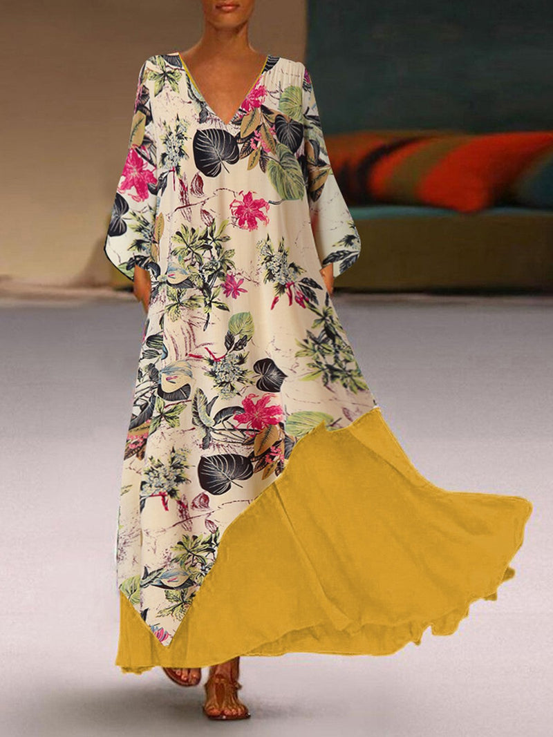 V Neck Floral Print Splice Hem Swing Plus Size Maxi Dress