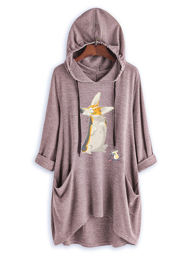 Plus Size Fox Print Hooded Asymmetric Hem Long-Sleeved Hoodies Sweatshirt