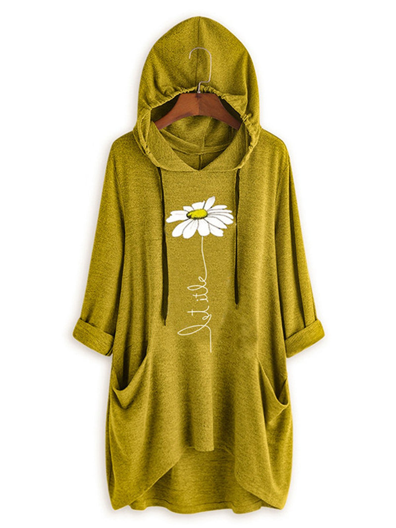 Plus Size Flower Print Pocket Long-Sleeved Asymmetric Hem Hoodies Sweatshirt