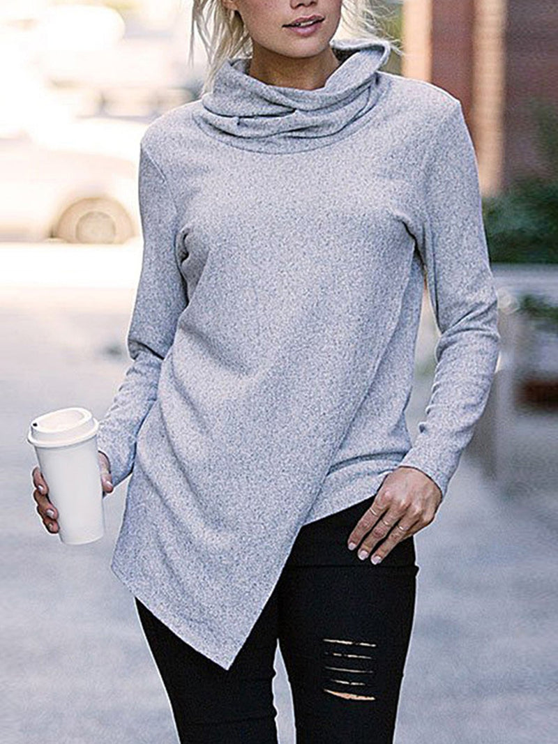Plus Size Solid Turtle Neck Surplice Hem Sweatshirt