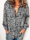 Plus Size Leopard Print Button-Down Loose Long-Sleeved Shirt