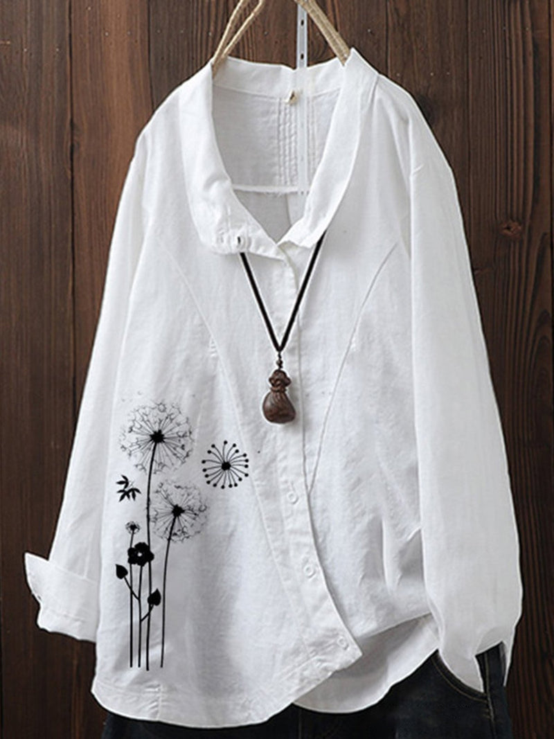 Plus Size Dandelion Print Turndown Collar Surplice Loose Shirt