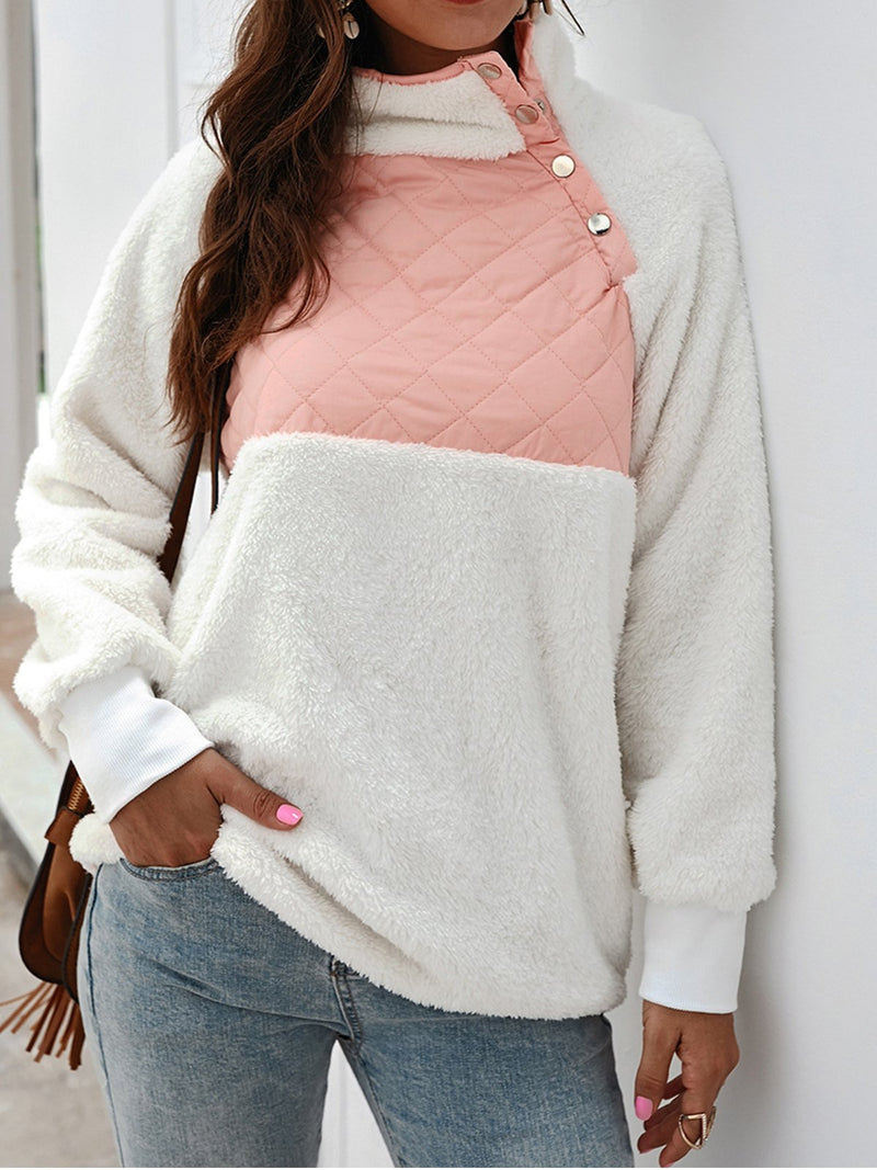 Buttoned Turtle Neck Plus Velvet Lining Color Block Velvet Sweatshirt