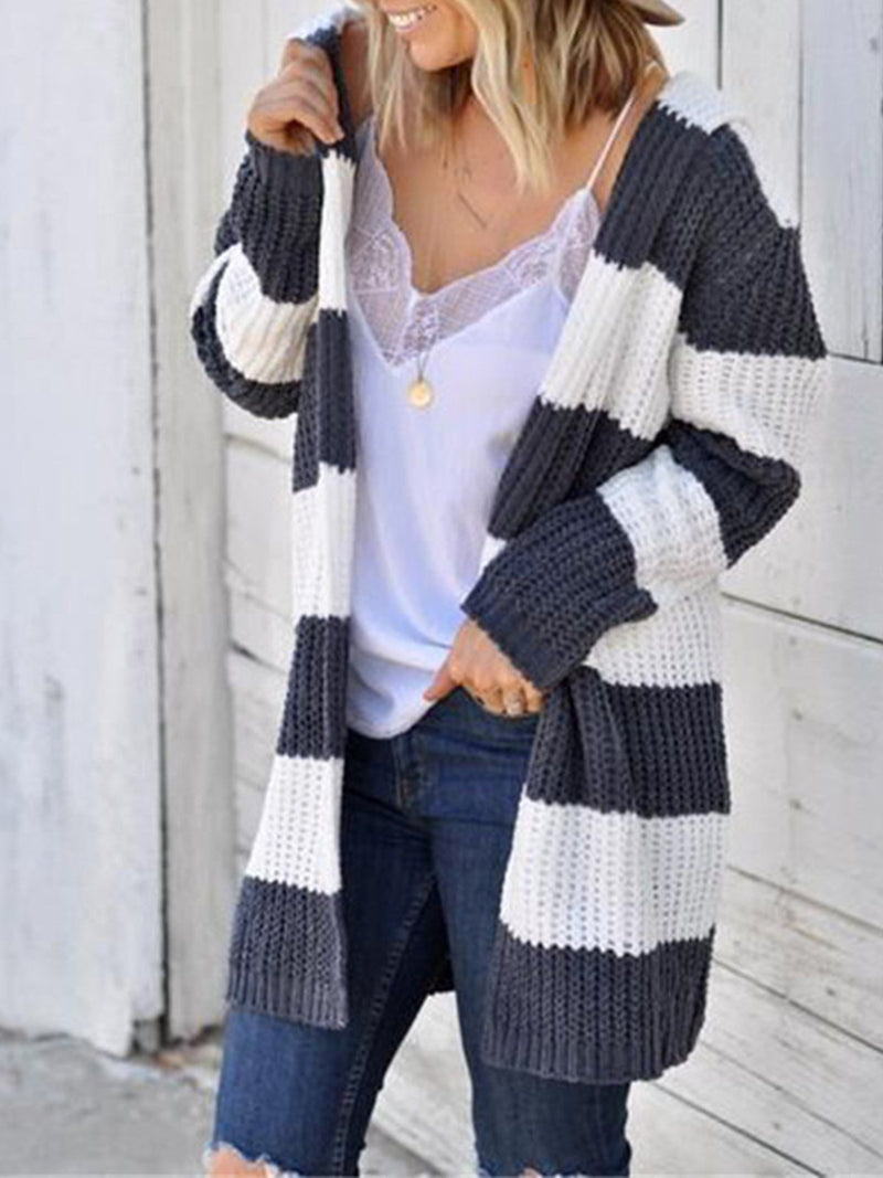 Darkgray&White Stripe Long Sweater Cardigan