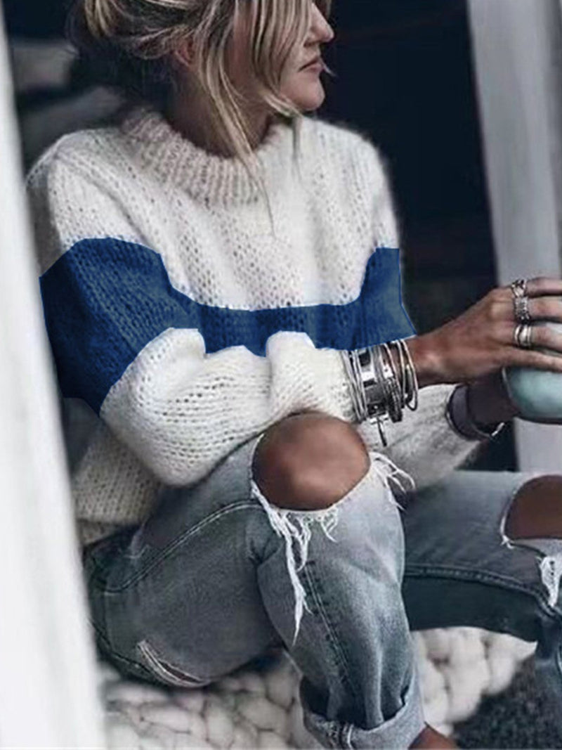 Color Block Round Neck Loose Casual Sweater