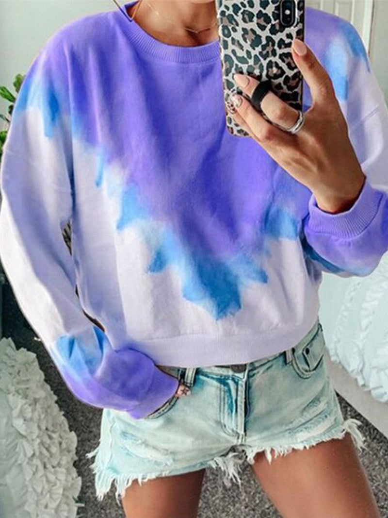 Plus Size Gradient Print Crew Neck Long-Sleeved Loose Sweatshirt