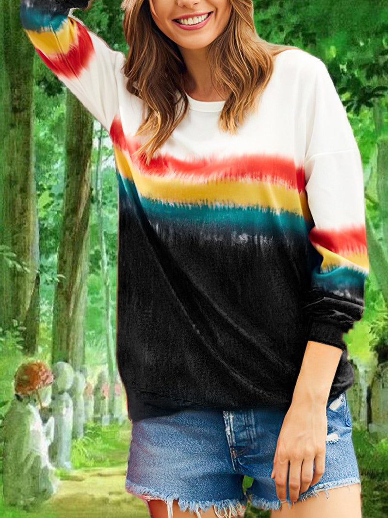 Rainbow Gradient Print Round Neck Long-Sleeved Loose Sweatshirt