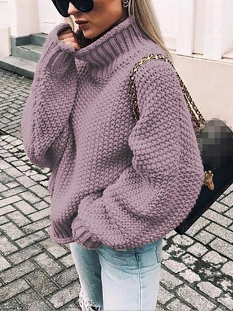 Women Solid Turtle Neck Loose Sweater