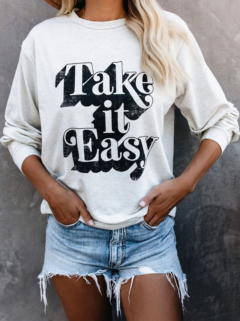 Slogan Print Round Neck Loose Sweatshirt