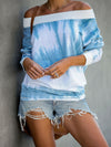 Lightblue Tie-Dye One-Shoulder Long-Sleeved Blouse