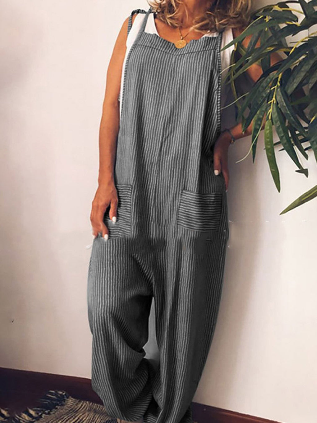 Pin Stripe With Patch-Pocket Full-Length Brace Jumpsuits
