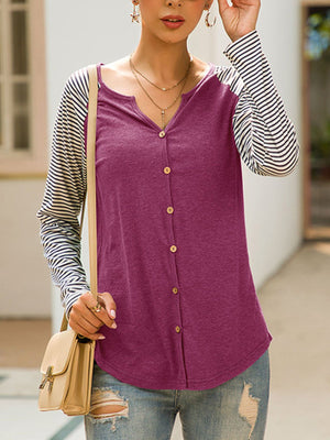 Stripe Print Raglan Sleeve Solid Panel Button-Down Blouse
