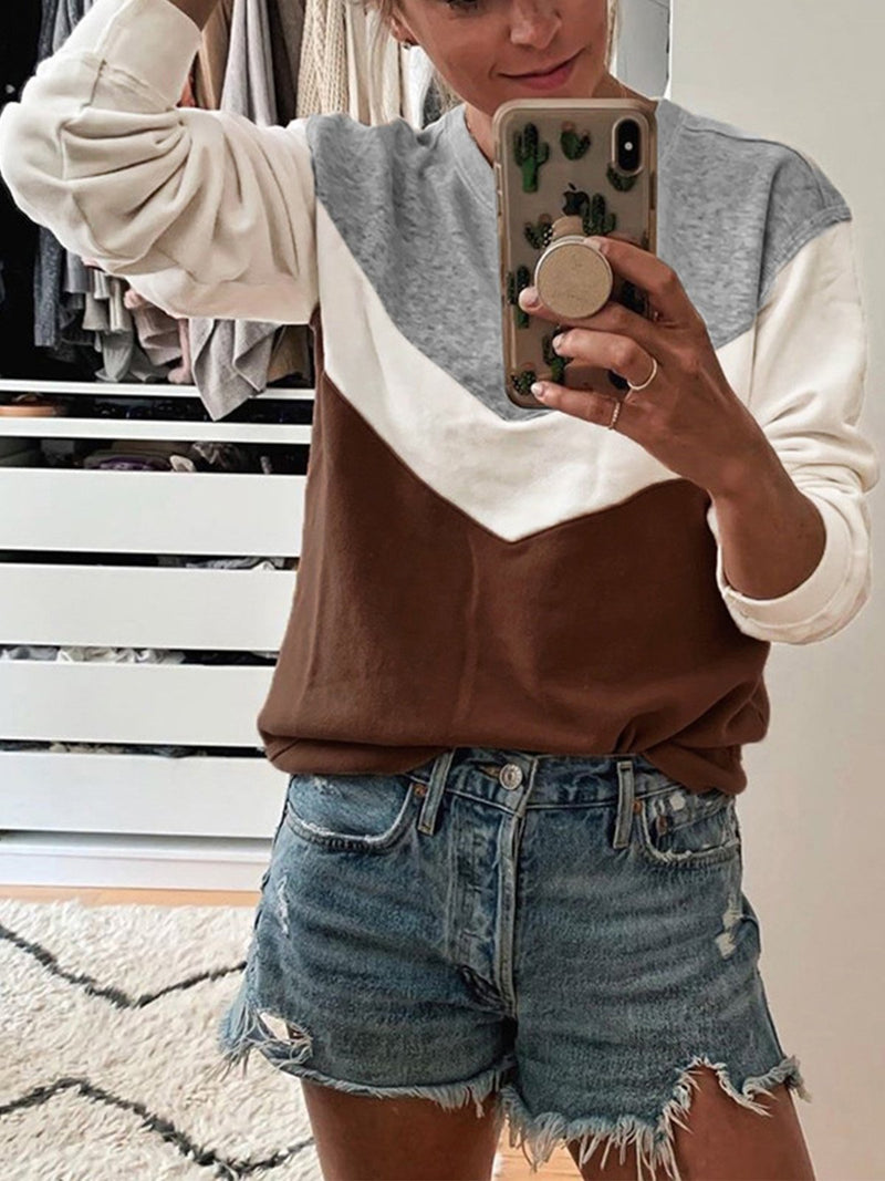Color Block Geometric Round Neck Long-Sleeved Sweatshirt