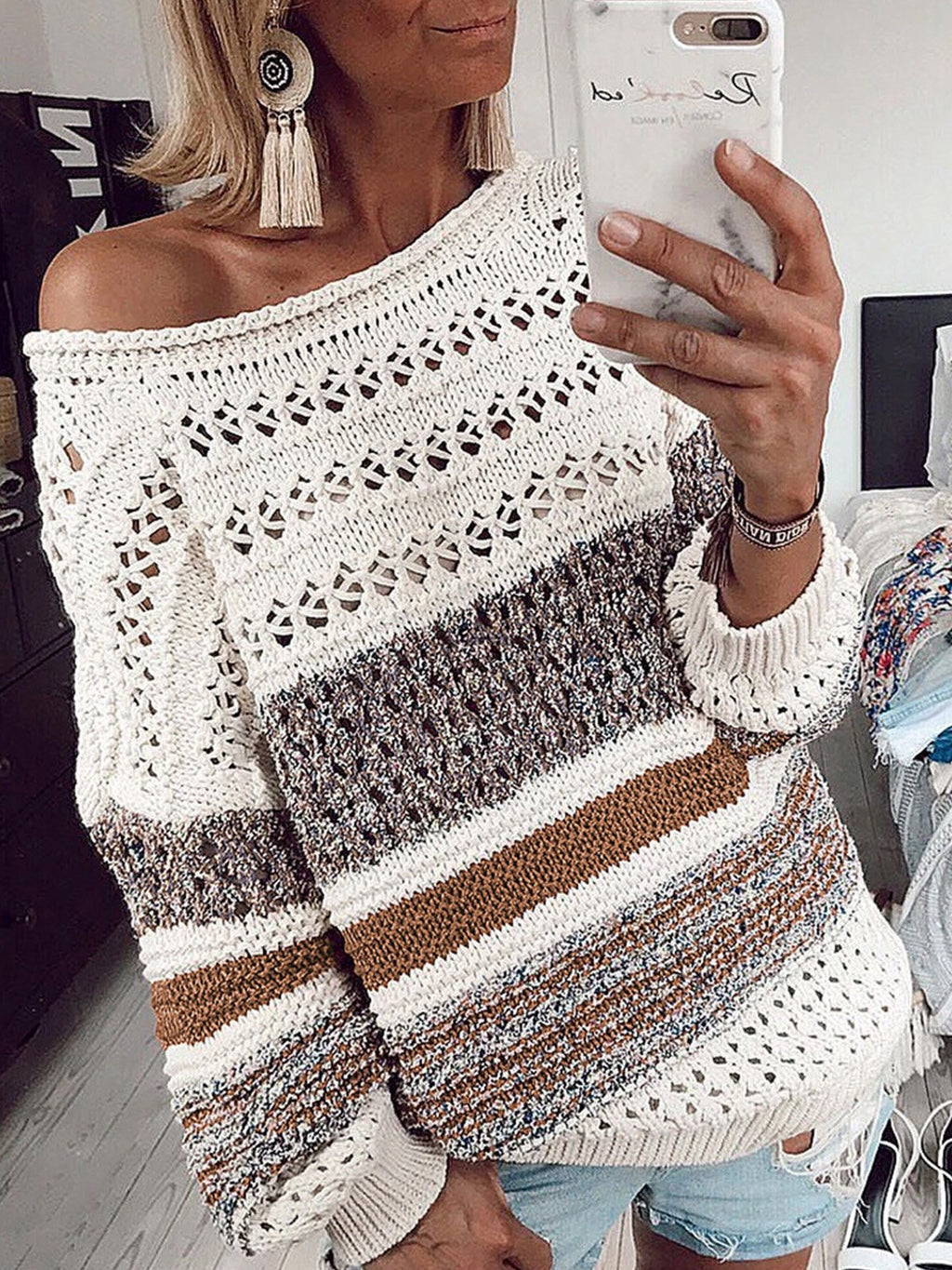Multicolor Round Neck Loose Hollow Sweater