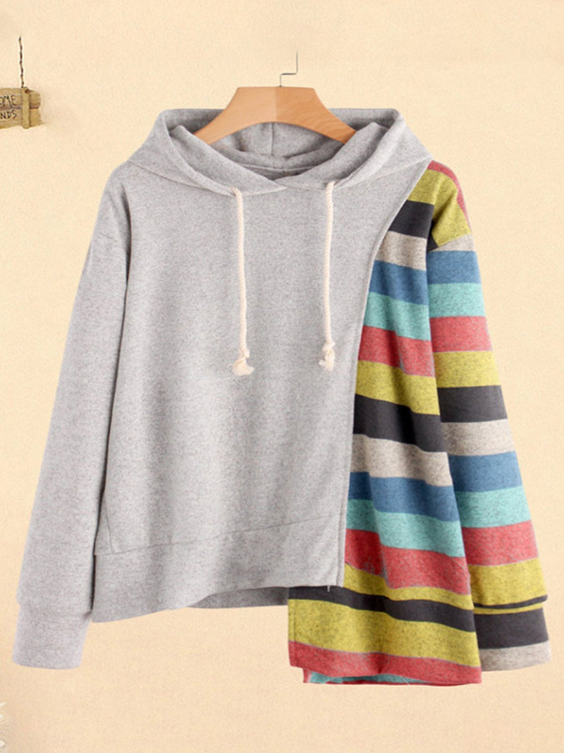 Plus Size Multicolor Stripe Print Draw-String Hooded Sweatshirt