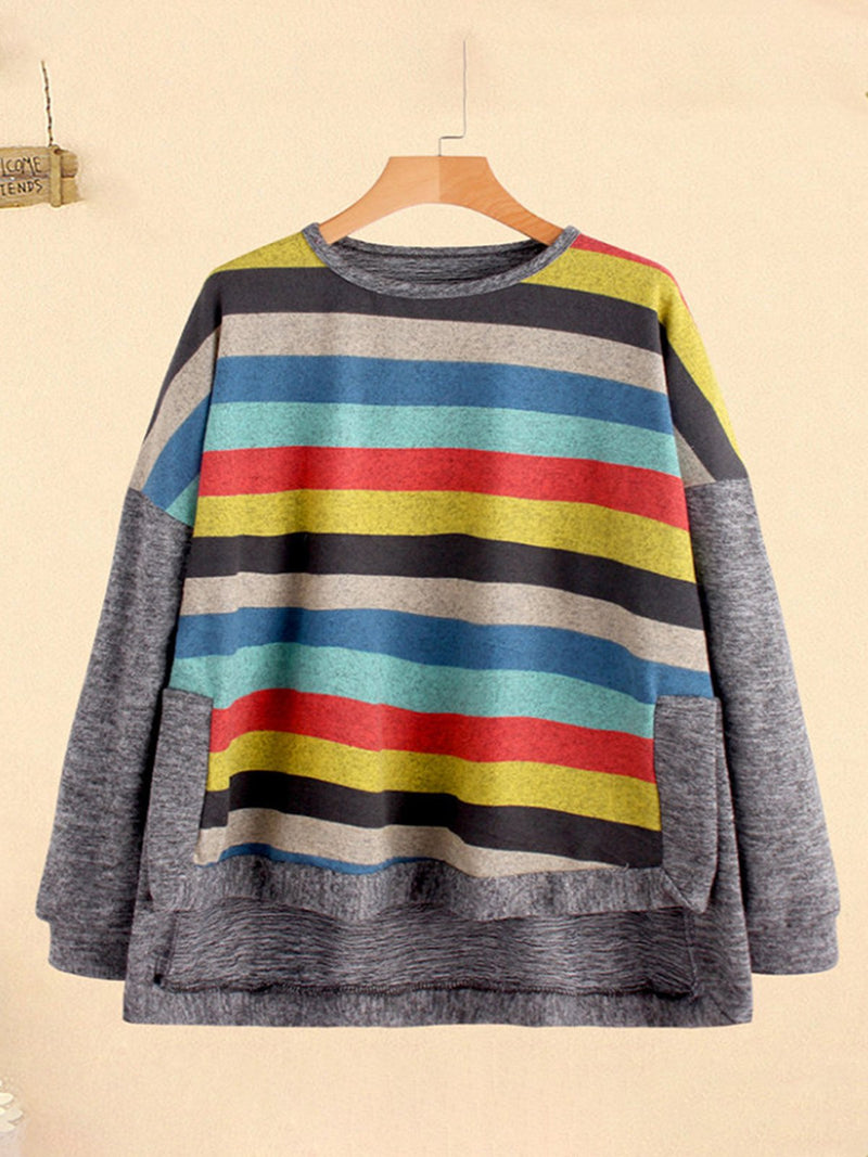 Plus Size Rainbow Stripe Print Panel Drop-Shoulder Asymmetric Sweatshirt