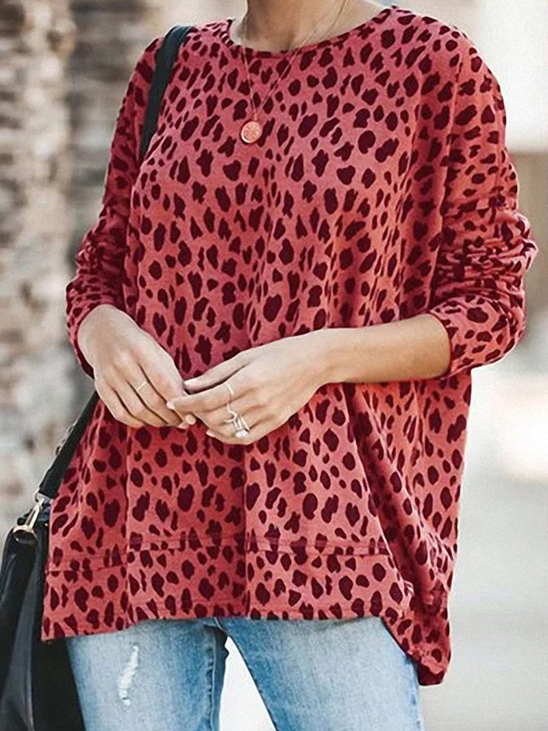 Plus Size Coloring Leopard Print Loose T-Shirt