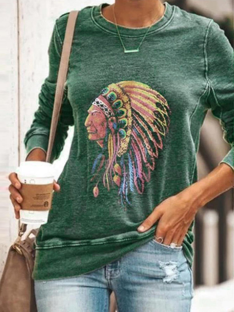 Tribal Leader Head Print Round Neck Long-Sleeved T-Shirt