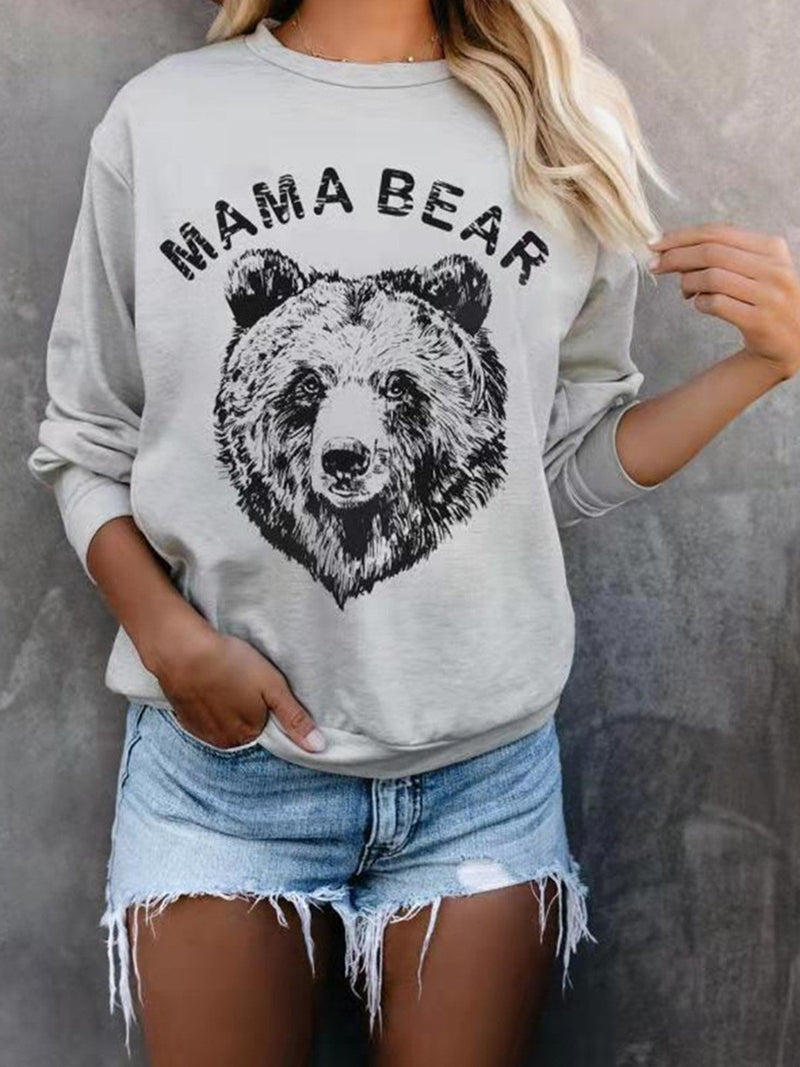 Raccoon Bear Print Crew Neck Sweatshirt