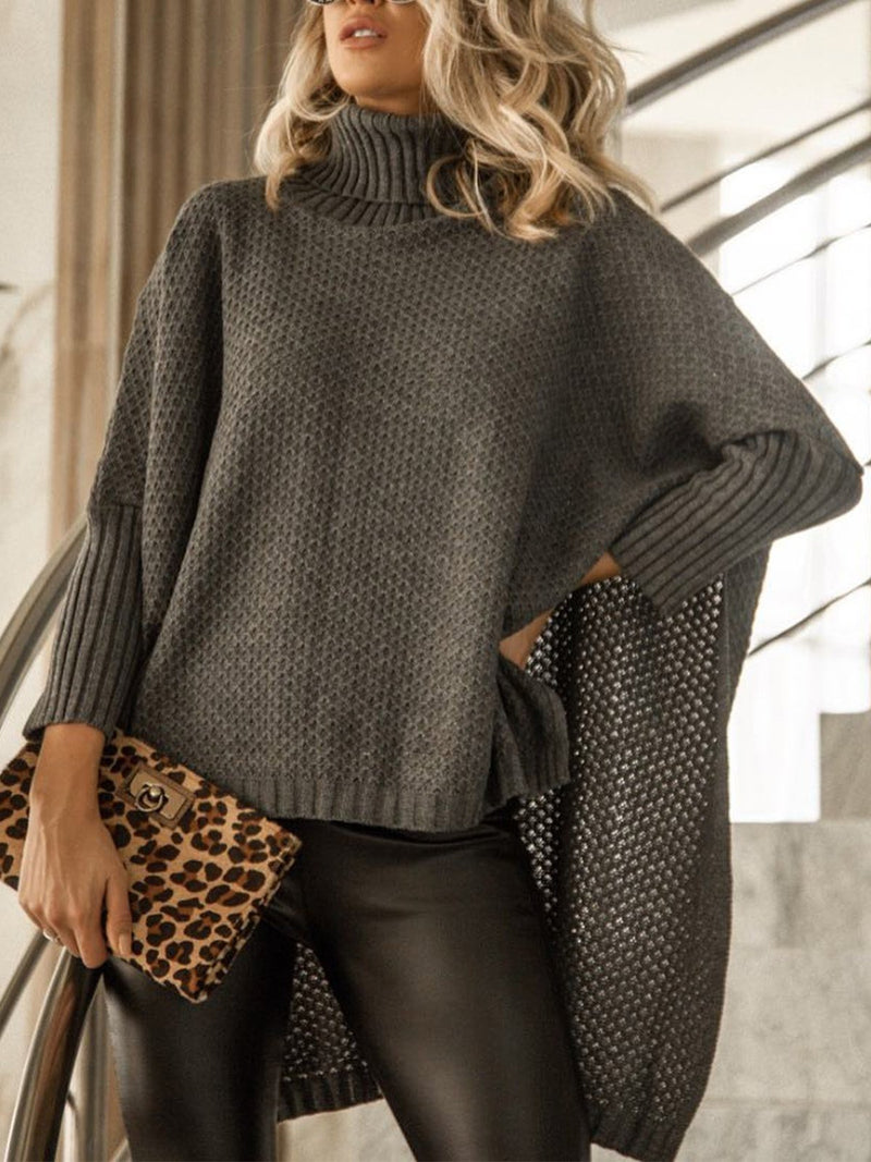 One Size Turtle Neck Loose Batwing Sleeve Asymmetric Sweater