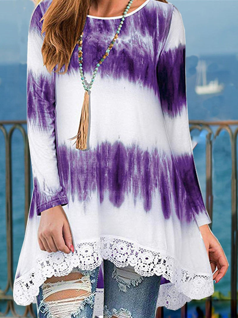 Plus Size Gradient Print Lace Splice Hem Swing Hem Blouse Top