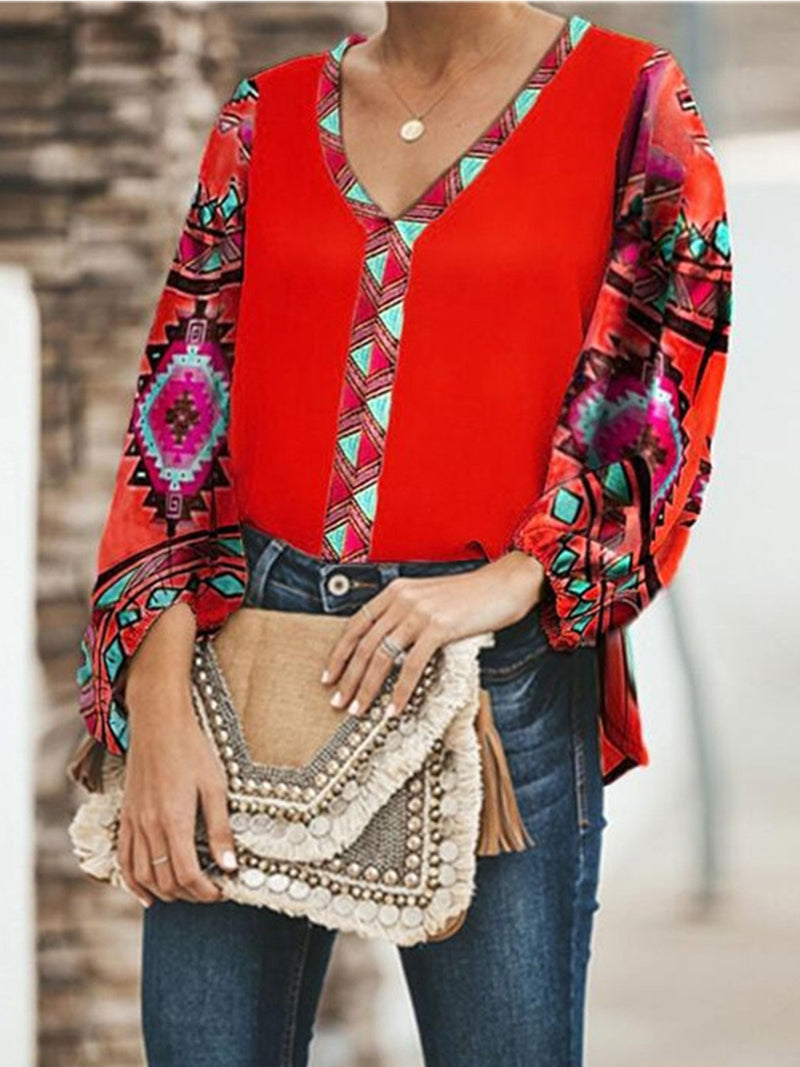 Plus Size Bohemia Geometric Print Loose Bloomer Sleeve Blouse Top
