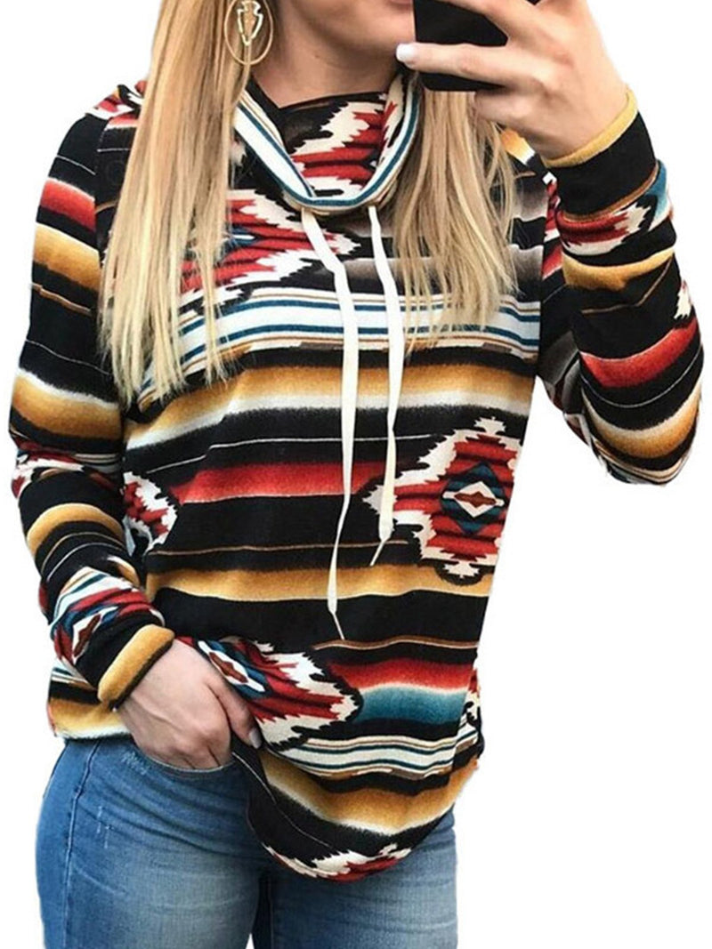 Plus Size Turtle Neck Multicolor Print Sweatshirt