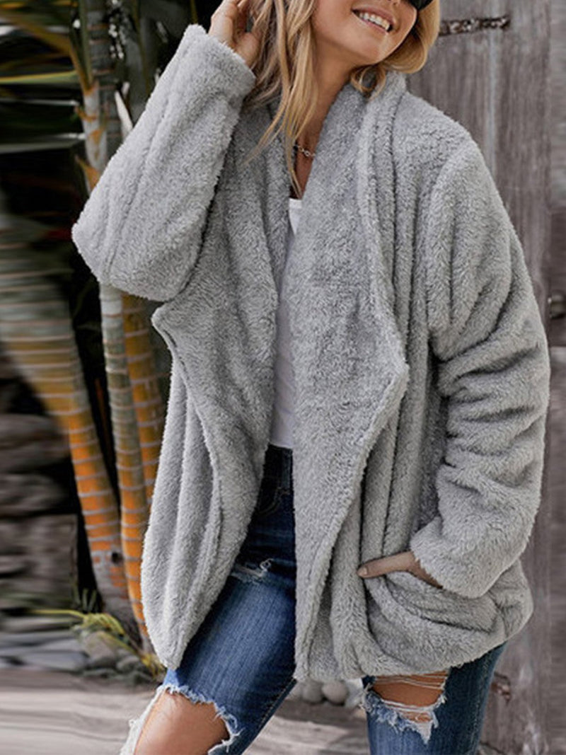 Plain Color Velour Winter Cardigan Coat