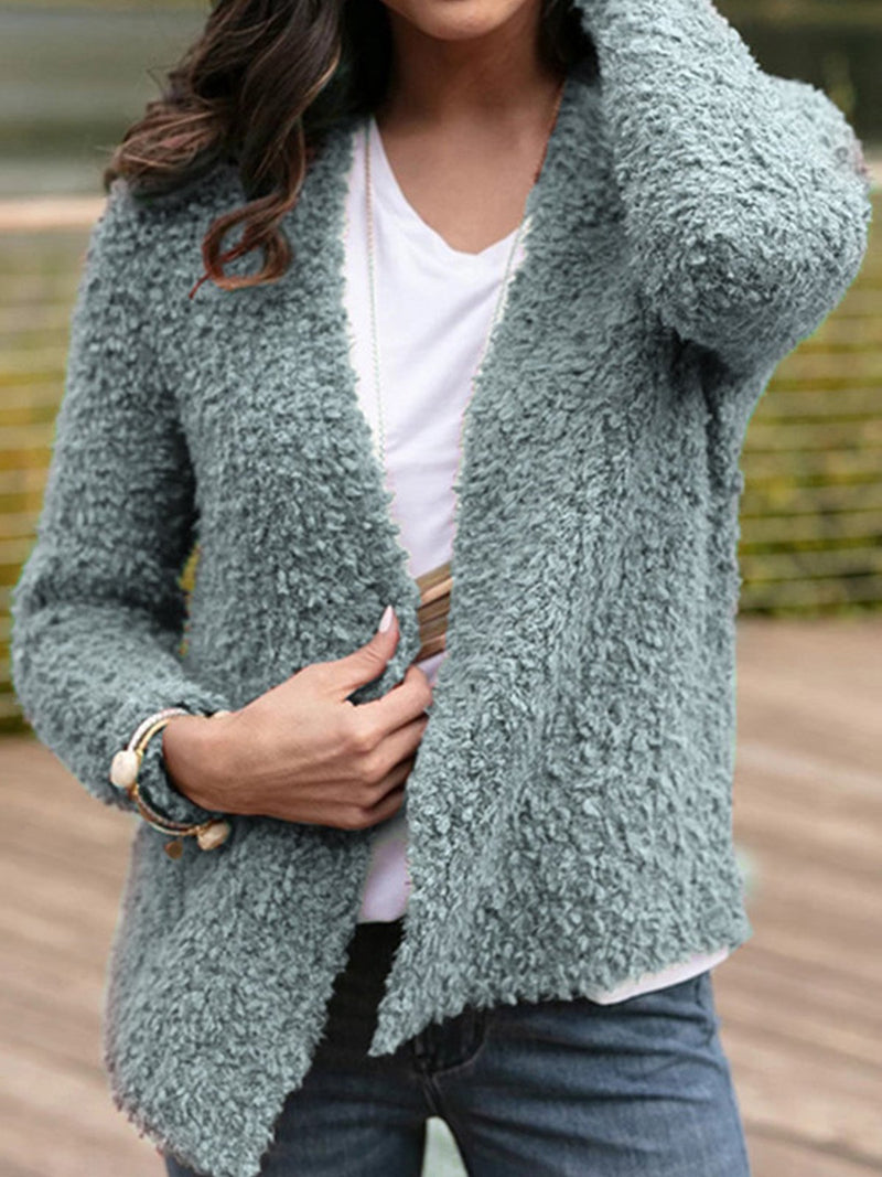 Solid Plush Non-Button Cardigan Autumn/Winter Coat