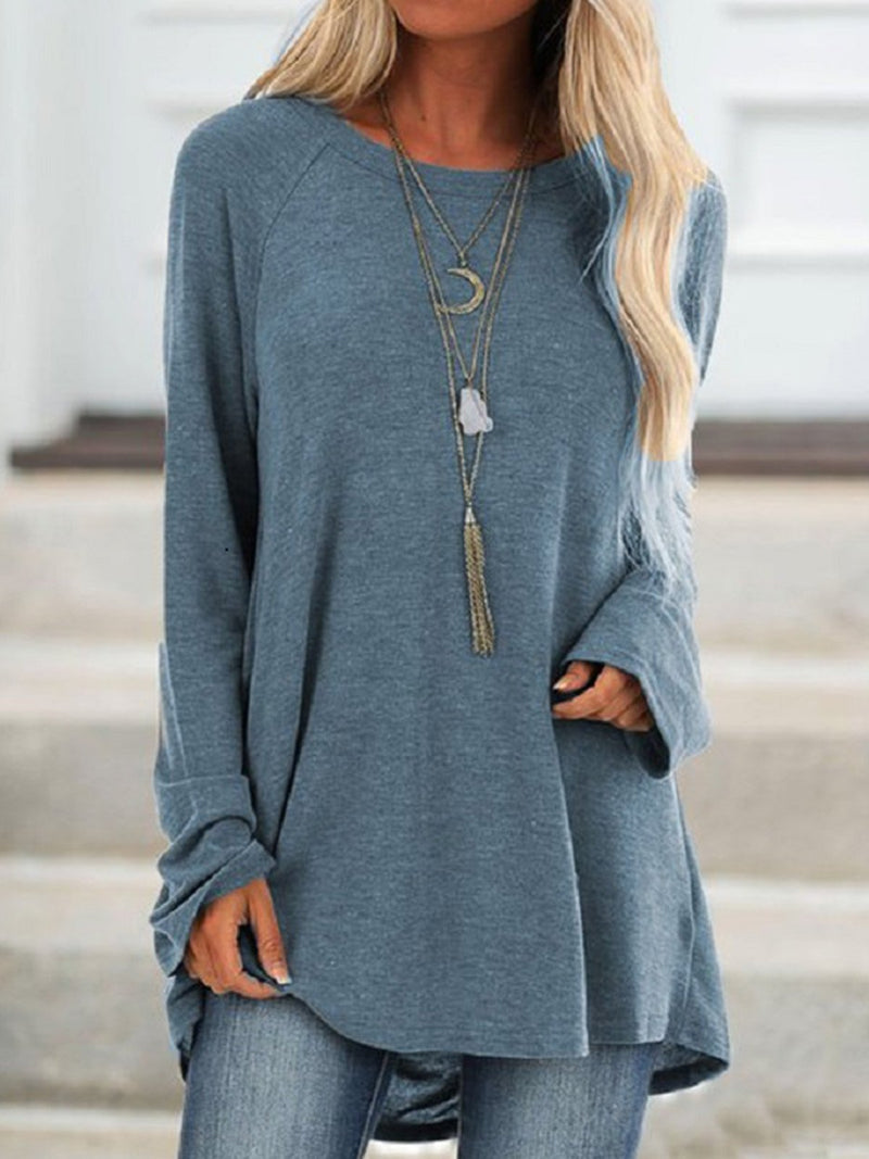 Plus Size Solid Round Neck Raglan Sleeve Pullover T-Shirt