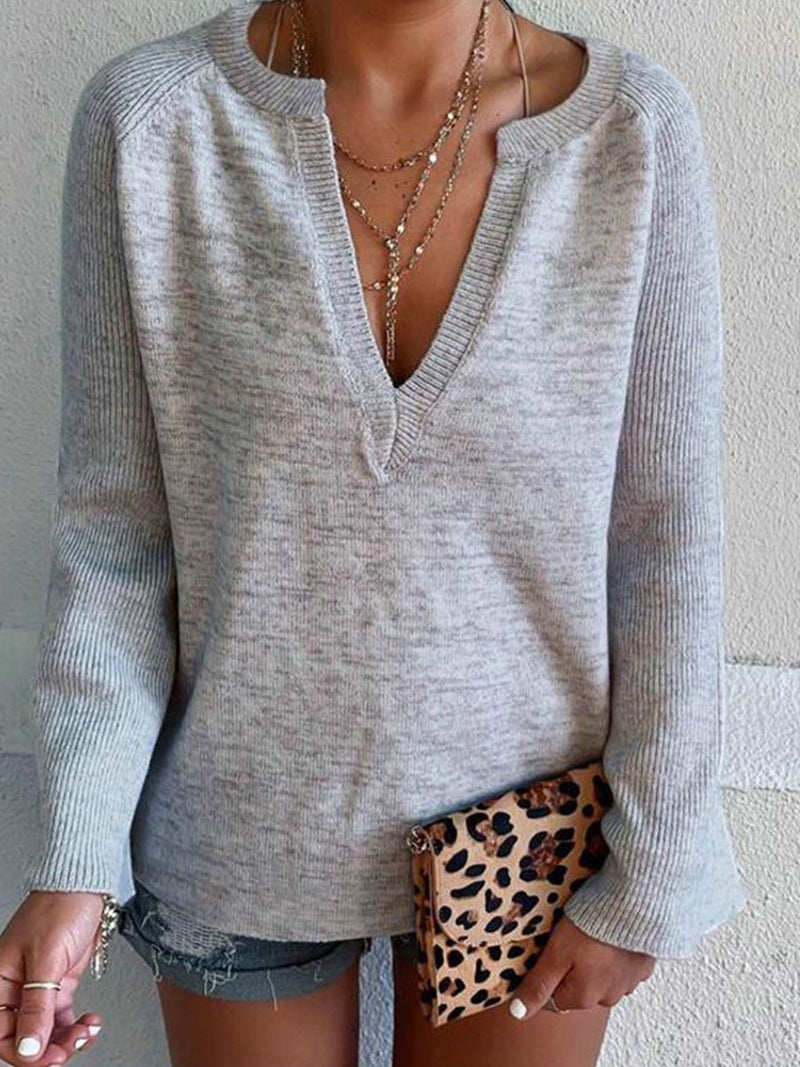 Solid Gray V Neck Long-Sleeved Knit Cotton T-Shirt