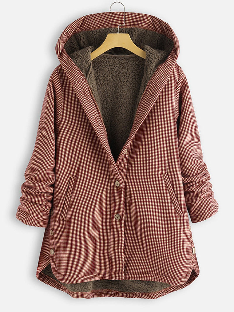 Plus Size Gingham Print Plus Fleece Lining Buttoned Hooded Coat